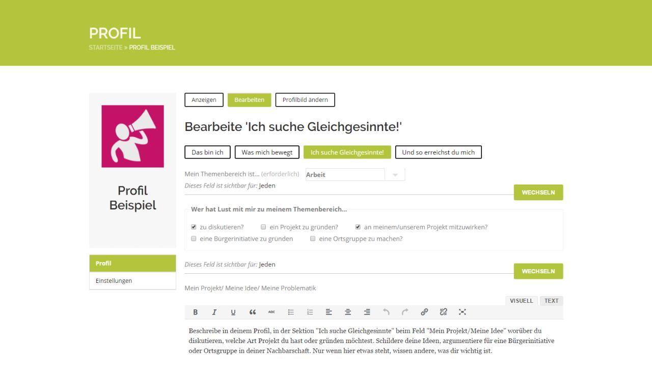 Screen: Profil Datenschutz